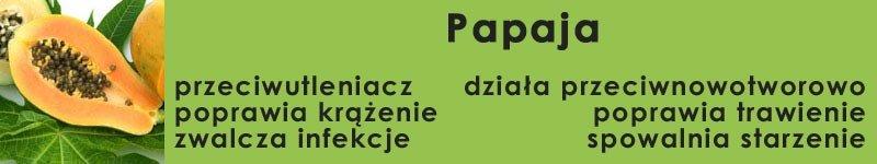 papaja - przeciwutleniacz, poprawia krążenie, zwalcza infekcje, działa przeciwnowotworowo, poprawia trawienie, spowalnia starzenie