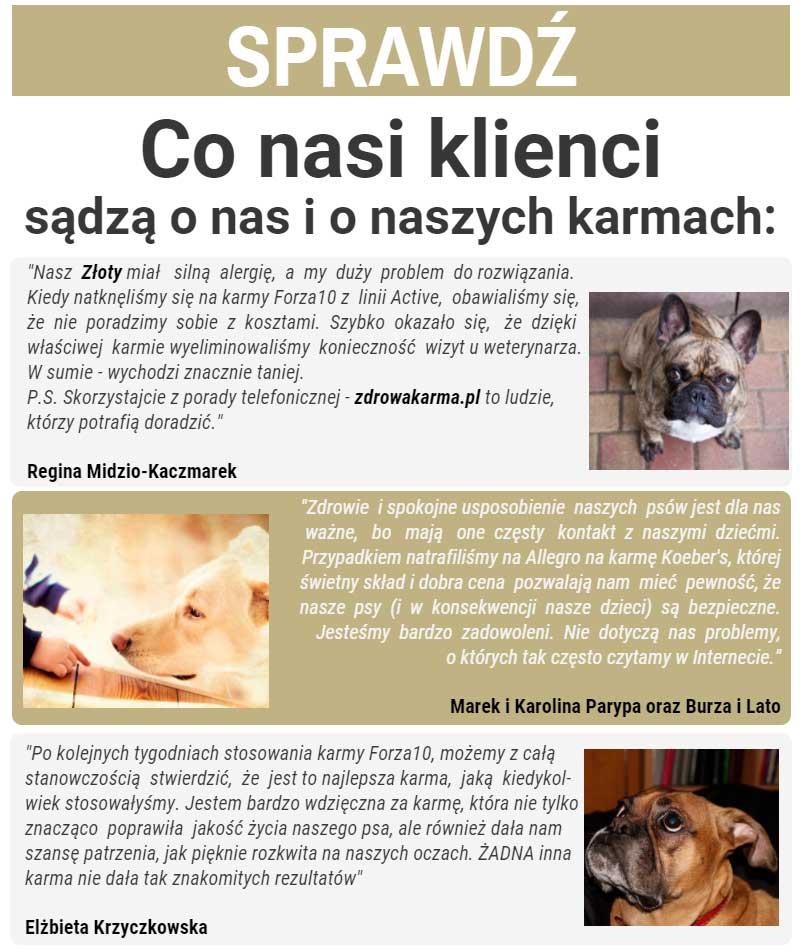 Nasi klienci wiedzą, że zdrowa karma dla psa to karma, która pozwala im przestać niepokoić się o zdrowie, wygląd, kondycję i zachowania swoich psów. Dlatego wybierają nasze karmy dla psów.